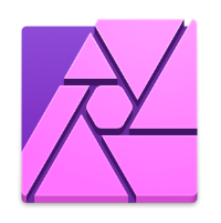 The Affinity Photo app icon - purple and pink shutter