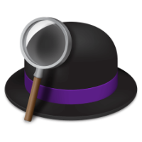 The Alfred app icon - a bowler hat with a magnifying glass