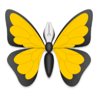 The Ulysses app icon - a pen pointing upwards with butterfly wings to either side