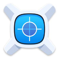 The xScope app icon - an X with a screen in its central axis showing crosshairs