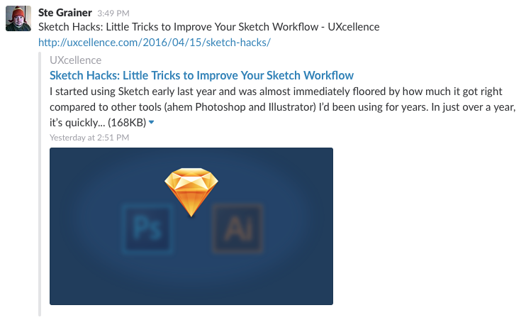 A sample of how Slack uses social metadata