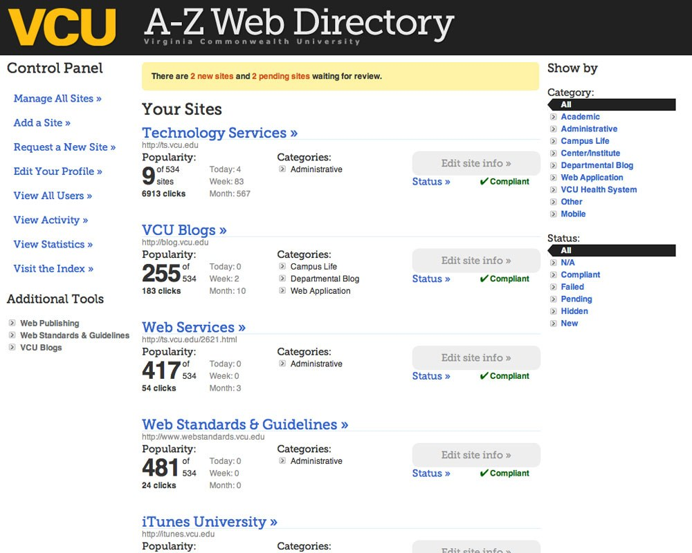 Upon logging into the A-Z manager, each webmaster's dashboard shows basic statistics for every site they run. A-Z administrators will also see messages relating to required system actions.