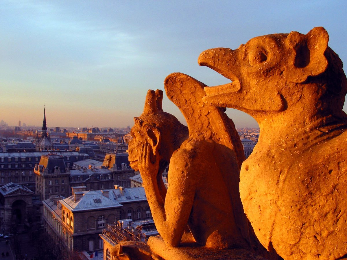 These chimera watching the sun set greeted me after the climb up to the belfry.